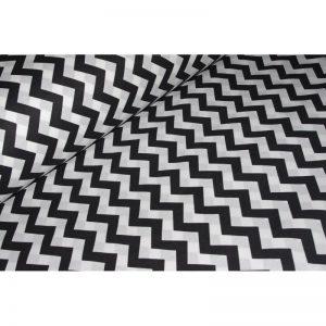 Tkanina bawełna 135g zygzak biało czarny