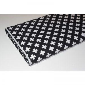 Tkanina bawełna 135g Białe plusy na czarnym
