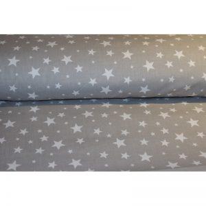 Tkanina bawełna 135g Białe gwiazdki na szarym