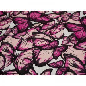 Dresówka pętelka Premium 270g Motyle Amarant