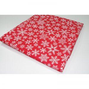 Tkanina bawełna 135g śnieżynki białe na czerwonym