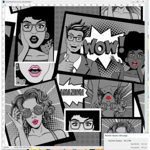 Dresówka pętelka komiks black cyfra 240g